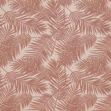 Toile polycoton imprimé jungle beige rosé