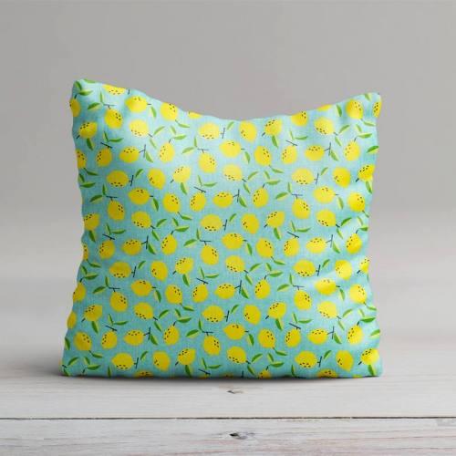 Coton bleu imprimé citron