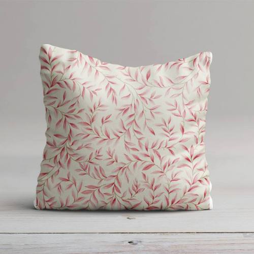 Toile coton imprimé feuillage rose