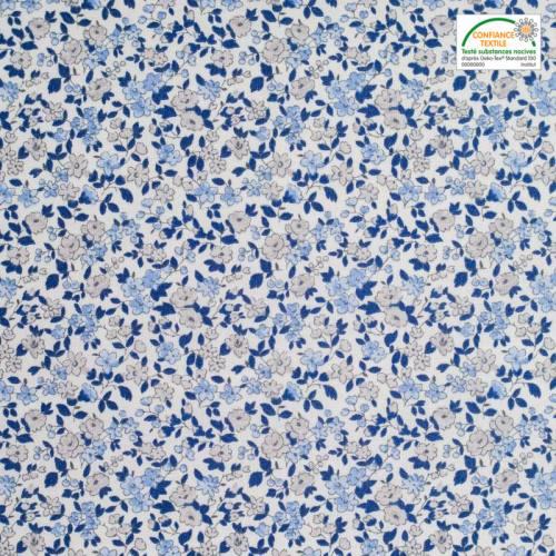 Coton écru petite fleur bleu