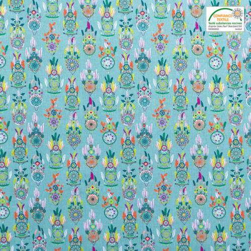 Coton bleu clair motif attrape-rêve