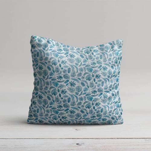 Coton blanc motif jungle bleu