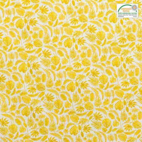 Coton blanc motif jungle jaune