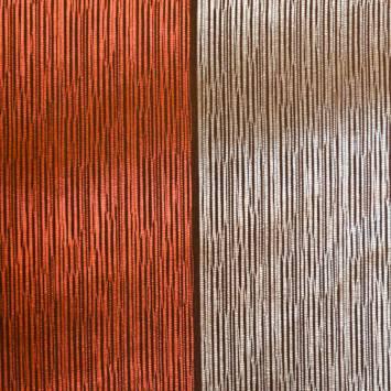 Tissu satiné rayé cuivre et gris