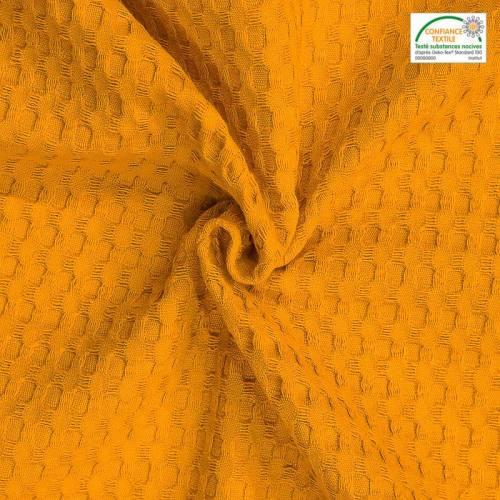 Jacquard moutarde tissage gaufré