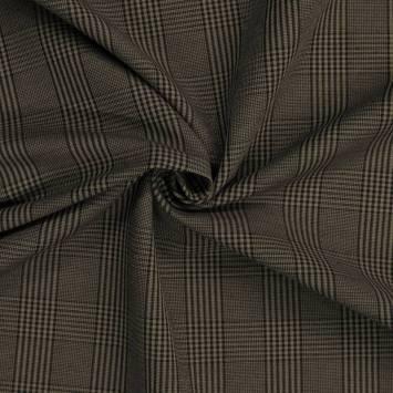 Tissu brun à carreaux