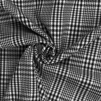 Tissu carreaux irrégulier noir et blanc