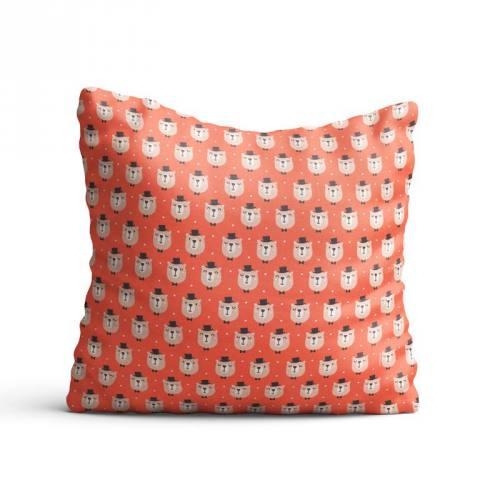 Coton corail motif ours