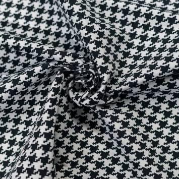 Tissu bengaline motif pied de poule blanc et noir